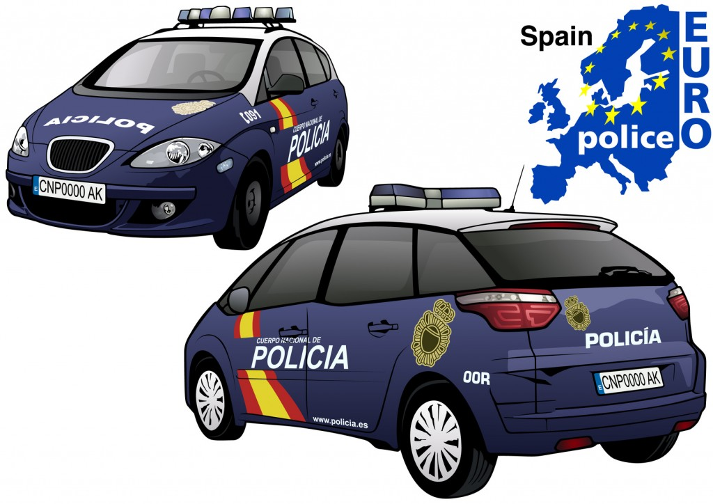 Spain Police Car - Colored Illustration from Series Euro police, Vector