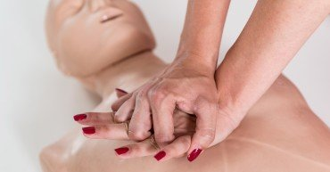 First Aid Training - Cardiopulmonary resuscitation. First aid course.