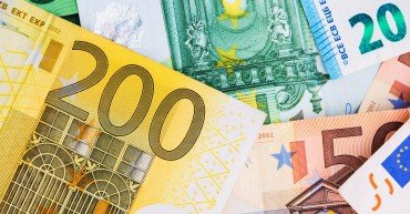 Euro Money Banknotes Photo Background. European Union Currency.