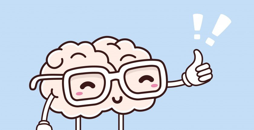 Vector illustration of retro pastel color smile pink brain with glasses and thumb up on blue background. Creative cartoon brain concept. Doodle style. Thin line art flat design of character brain for brainstorm, science, training, education theme