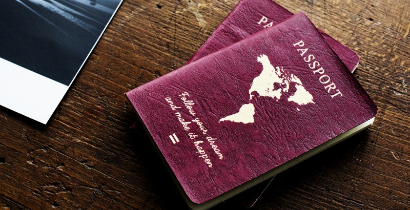 Passport on the wooden table