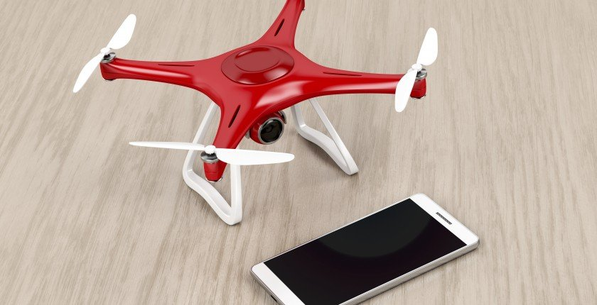 Unmanned aerial vehicle (drone) and smartphone with blank display